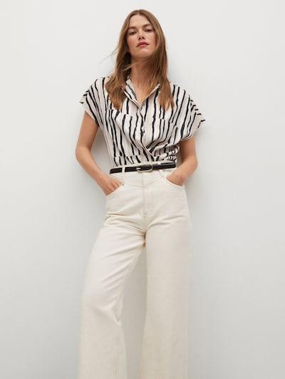 MANGO Bluse 'IBIZA' in creme / schwarz / weiß, Modelansicht
