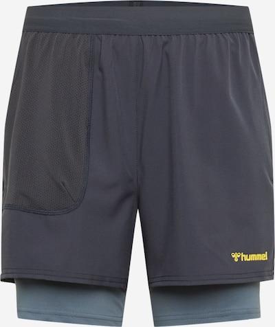 Hummel Sportshorts 'FURGUS' in rauchblau / taubenblau / gelb, Produktansicht