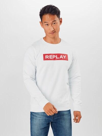 REPLAY Sweatshirt in hellrot / weiß: Frontalansicht