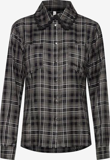 PULZ Jeans Blouse 'PZSOPHIA' in de kleur Donkergrijs / Zwart, Productweergave