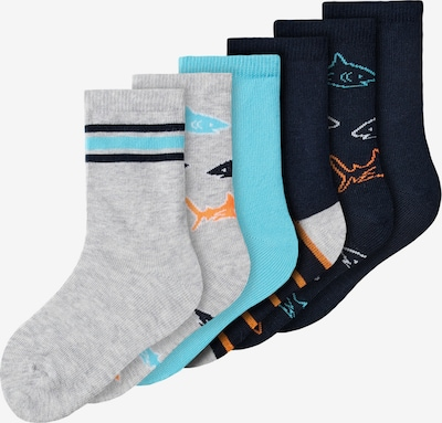 NAME IT Chaussettes 'Find' en turquoise / bleu nuit / gris chiné / orange / blanc, Vue avec produit
