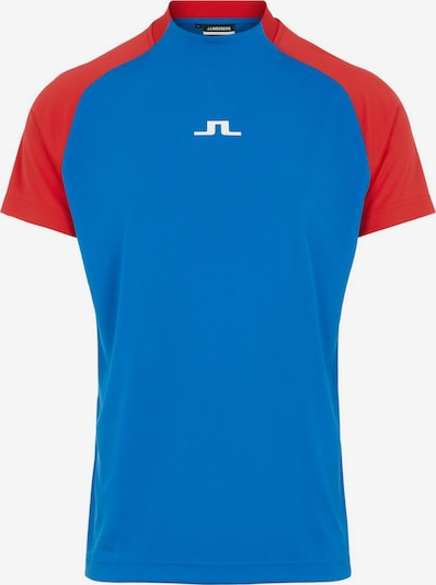 J.Lindeberg Poloshirt in blau / rot / weiß: Frontalansicht