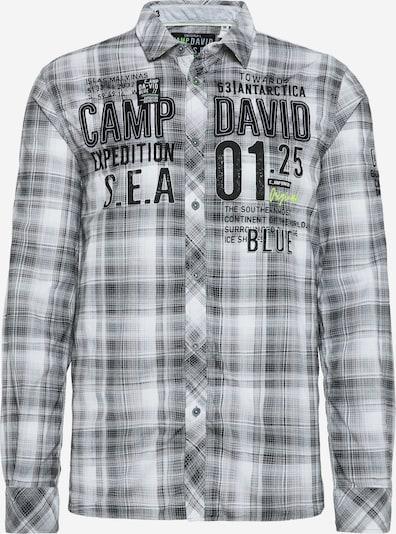 CAMP DAVID Karohemd mit Label-Applikationen in grau / weiß, Produktansicht