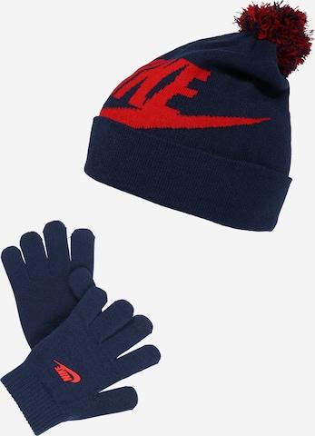 Nike Sportswear Komplekt 'Mütze & Handschuhe', värv sinine