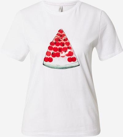 ONLY Majica 'KITA' u zelena / vatreno crvena / crna / bijela, Pregled proizvoda