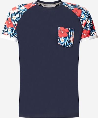 !Solid Tričko 'Ruel' - námornícka modrá / petrolejová / červená: Pohľad spredu