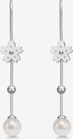 Polar Jewelry Oorbellen 'Sakura Hanging Pearl Earrings' in de kleur Zilver / Parelwit, Productweergave