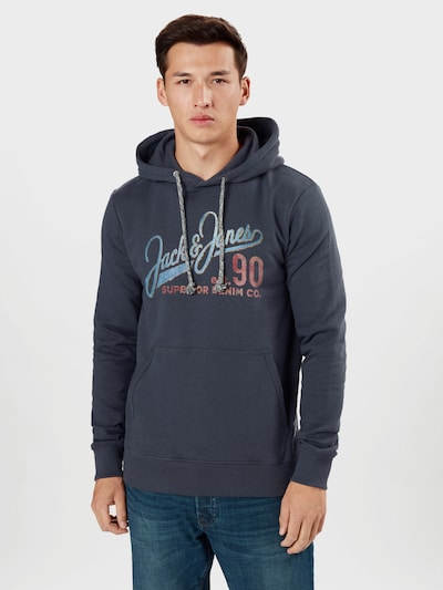 JACK & JONES Sweat-shirt en bleu marine / bleu fumé / rouge pastel: Vue de face