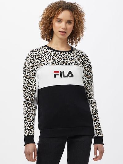 FILA Sweatshirt 'AMINA' in Light brown / Red / Black / White: Frontal view