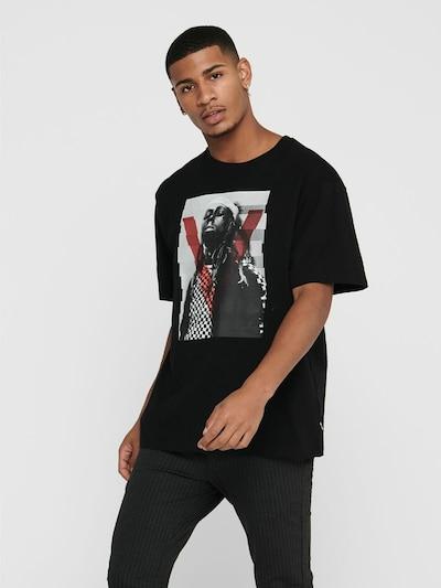 Only & Sons Shirt in de kleur Lichtgrijs / Rood / Zwart: Vooraanzicht
