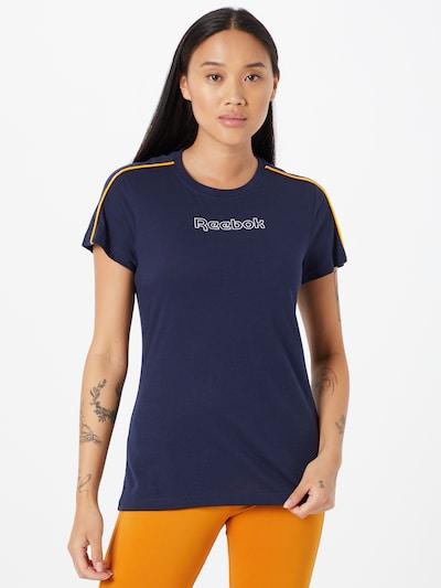 Reebok Sport Sportshirt 'Piping' in navy / gelb / weiß: Frontalansicht