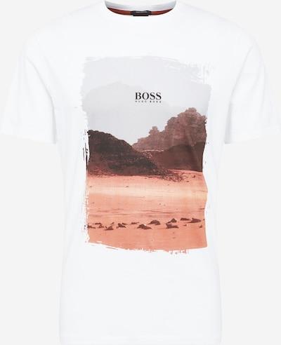 Maglietta 'Tsummery' BOSS Casual di colore marrone / marrone chiaro / grigio / bianco, Visualizzazione prodotti