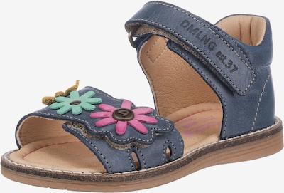 Däumling Sandale in taubenblau / goldgelb / jade / pink, Produktansicht