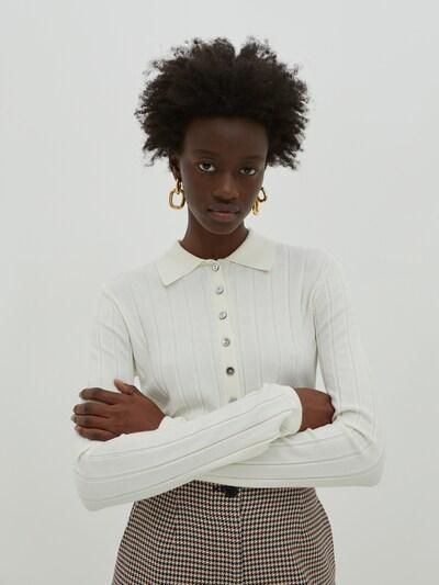 Kardiganas 'Holly' iš EDITED, spalva – kremo, Modelio vaizdas