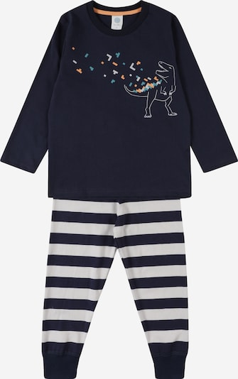 SANETTA Pajamas in Dark blue / Petrol / Orange / White, Item view