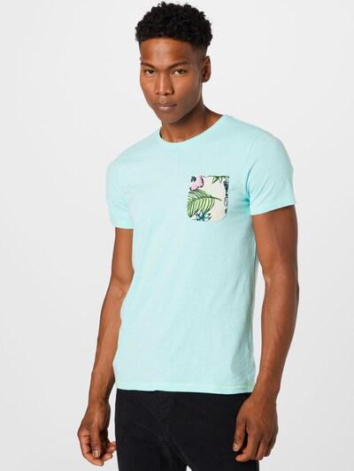 Petrol Industries Тениска в бежово / светлосиньо / тревнозелено / розово: Изглед отпред