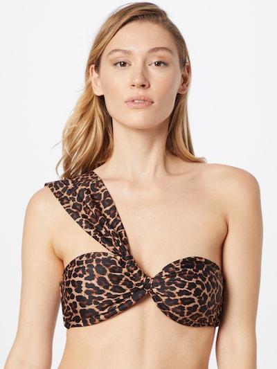hunkemöller x NA-KD Bikinitop in rostbraun / hellbraun / anthrazit, Modelansicht