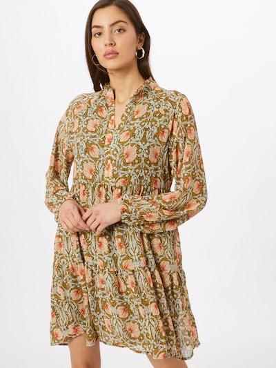 OBJECT Kleid 'Steph Gia' in ocker / dunkelgrün / pastellrot / weiß, Modelansicht