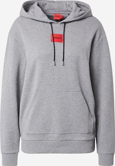 HUGO Sweater majica 'Dasara' u siva melange / vatreno crvena / crna, Pregled proizvoda