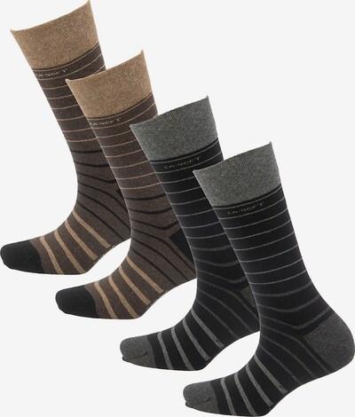 camano Socken in hellbraun / dunkelbraun / grau / dunkelgrau, Produktansicht