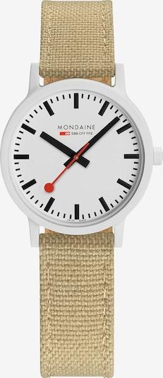 Mondaine Uhr in beige / rot / weiß, Produktansicht