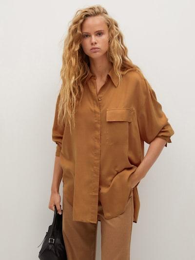 MANGO Blusenhemd in braun, Modelansicht