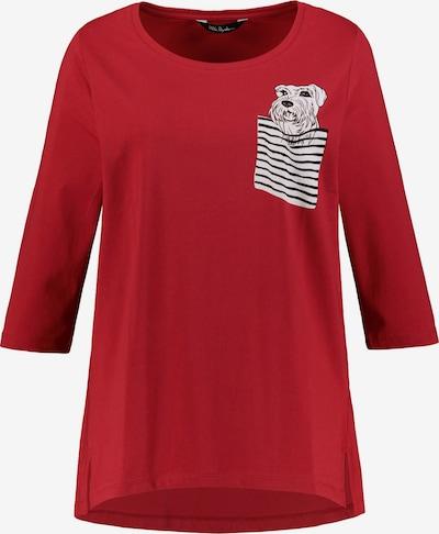Ulla Popken Shirt 'Hund in Brusttasche' in rot / schwarz / weiß, Produktansicht