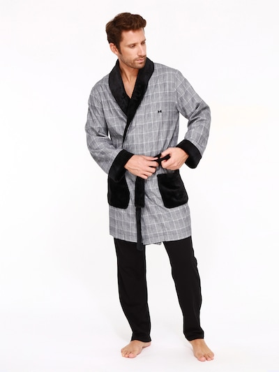 HOM Badjas lang  ' Benjamin ' in de kleur Grijs / Zwart, Modelweergave