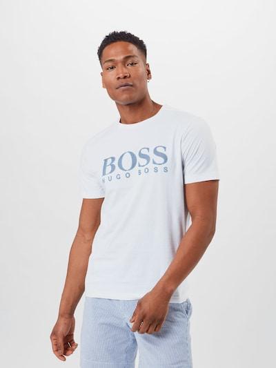 BOSS ATHLEISURE Tričko - modrá / biela: Pohľad spredu