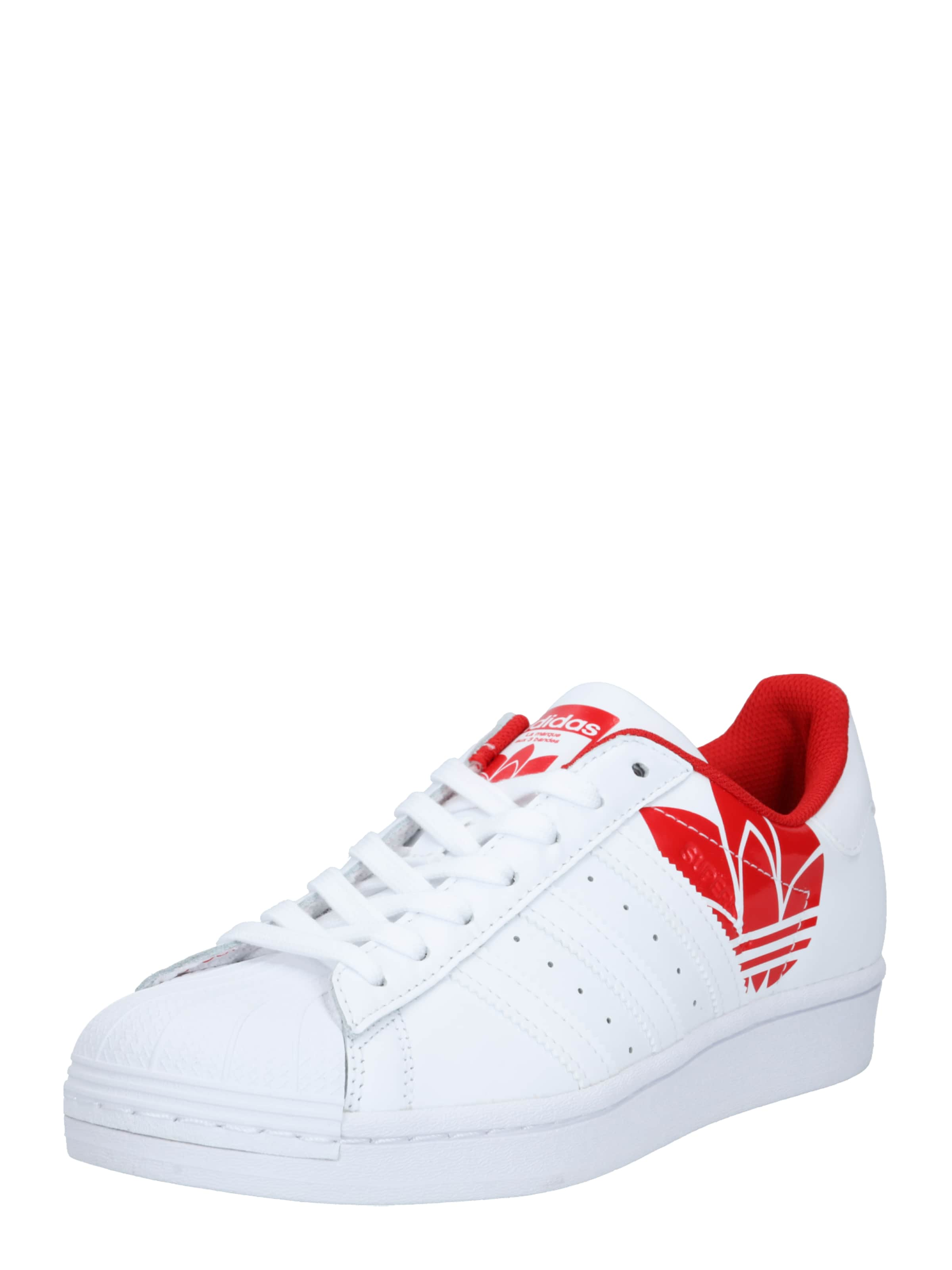 ADIDAS ORIGINALS Låg sneaker 'SUPERSTAR' i röd / vit