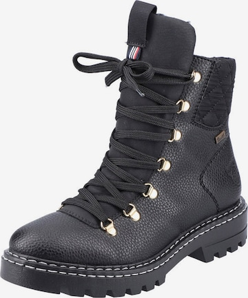 RIEKER Lace-Up Ankle Boots in Black