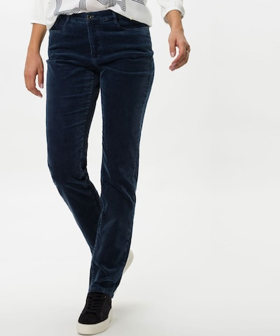 BRAX Hose 'CAROLA' in dunkelblau / dunkelgrau / weiß, Modelansicht