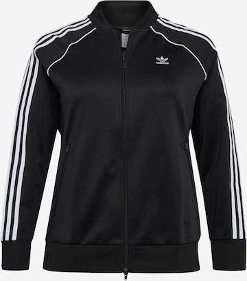 ADIDAS ORIGINALS Athletic Zip-Up Hoodie 'Primeblue' in Black