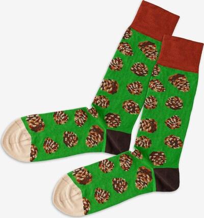 DillySocks Socken in beige / grasgrün, Produktansicht