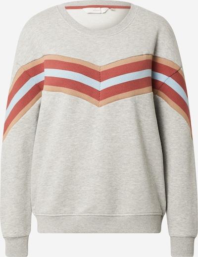 NÜMPH Sweat-shirt 'NAGIDA' en gris clair / abricot / rouge pastel / blanc, Vue avec produit