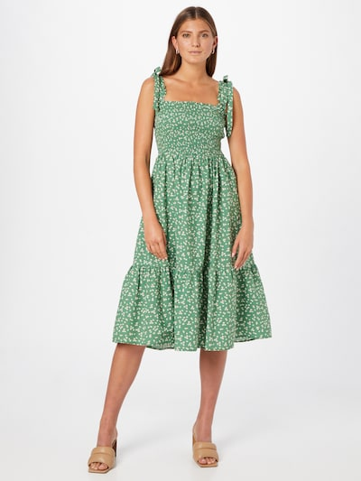 Lollys Laundry Kleid 'Minna' in grün / khaki / weiß, Modelansicht