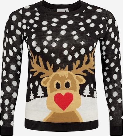 Junarose Pullover in hellbraun / mischfarben / rot / schwarz / weiß, Produktansicht