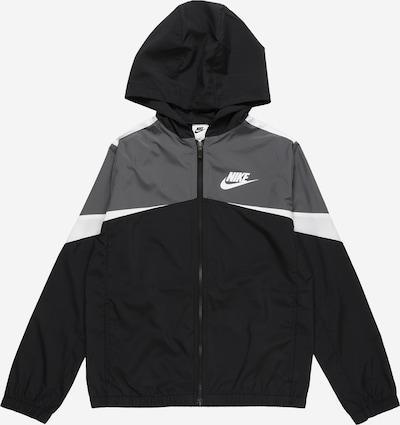 Nike Sportswear Prijelazna jakna u tamo siva / crna / bijela, Pregled proizvoda