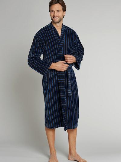 SCHIESSER Badjas lang  ' Selected! Premium ' in de kleur Blauw / Donkerblauw, Modelweergave