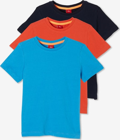 s.Oliver 3er-Pack T-Shirts in blau / orange / schwarz, Produktansicht