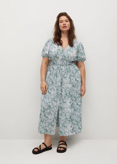 VIOLETA by Mango Kleid 'Lago' in grün / weiß, Modelansicht