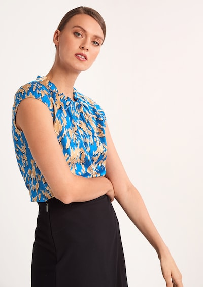 COMMA Blouse in Sky blue / Light brown / White, View model