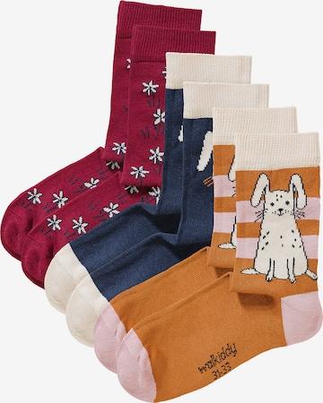 Walkiddy Socks 'RABBITS' in Red
