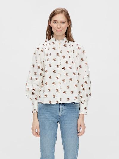 PIECES Bluse 'Pony' in braun / weiß, Modelansicht