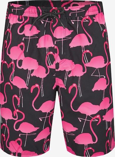 Lousy Livin Badehose 'Flamingos' in neonpink / schwarz, Produktansicht