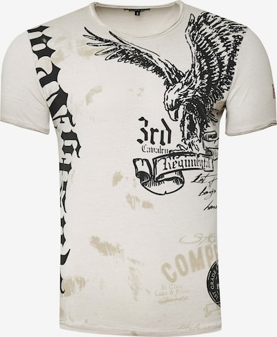Rusty Neal T-Shirt mit modernem Front & Back Print 'American Eagle' in beige: Frontalansicht
