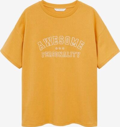 MANGO TEEN COLLECTION Тениска 'AWESOME' в горчица / бяло, Преглед на продукта