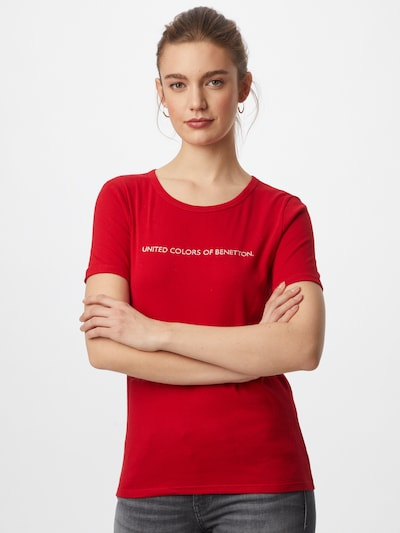 UNITED COLORS OF BENETTON Shirt in cranberry / white: Frontal view