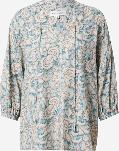 Thought Blouse 'SYLVIA' in de kleur Beige / Turquoise / Wit, Productweergave