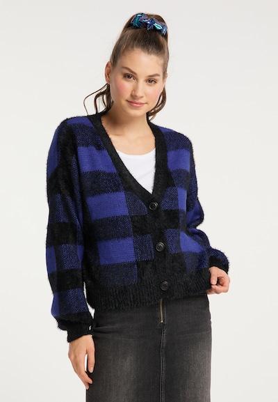MYMO Strickjacke in blau / schwarz, Modelansicht